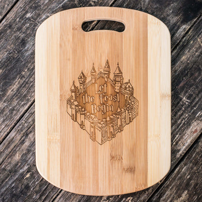 Let the Feast Begin Cutting Board 14''x9.5''x.5'' Bamboo