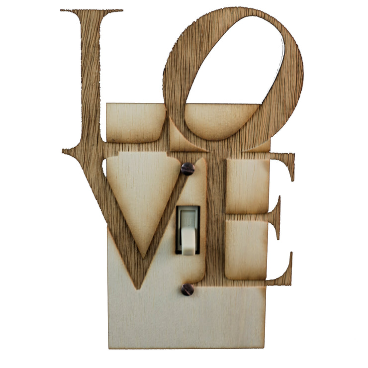 "Love Square Switch Plate - Raw Wood -4.6""x6.7"""