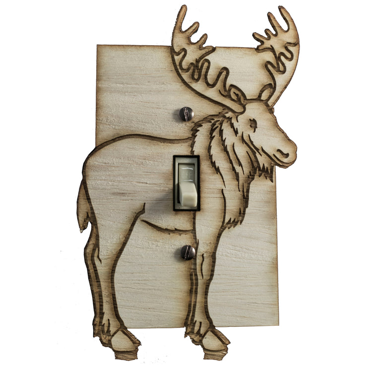 "Moose switch plate - Raw Wood - 4.0""x6.3"""