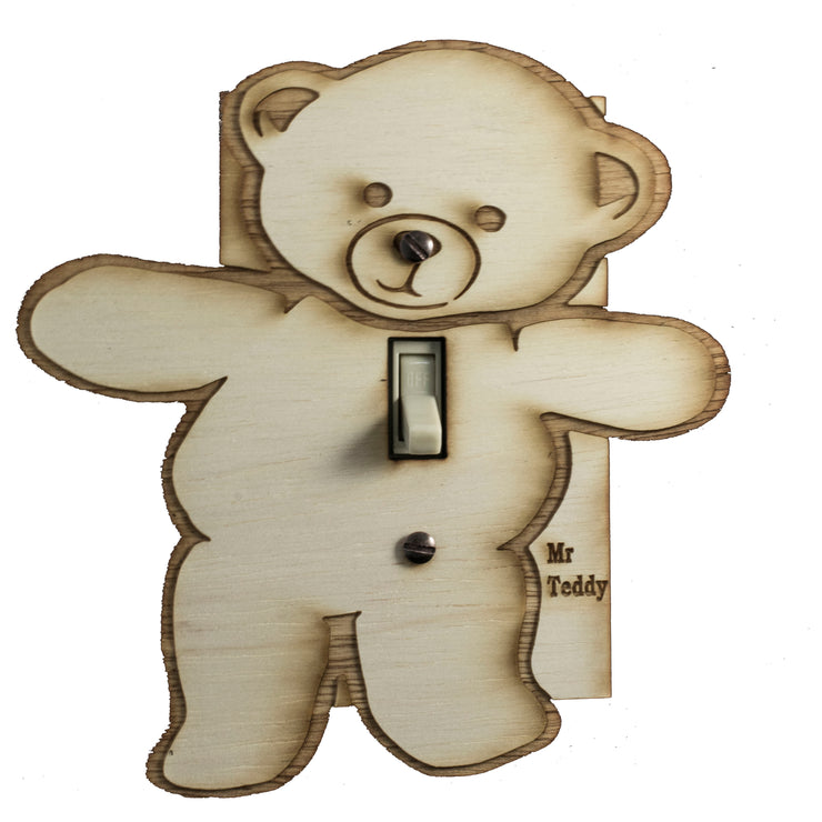 "Mr. Teddy switch plate - Raw Wood - 6""x6"""