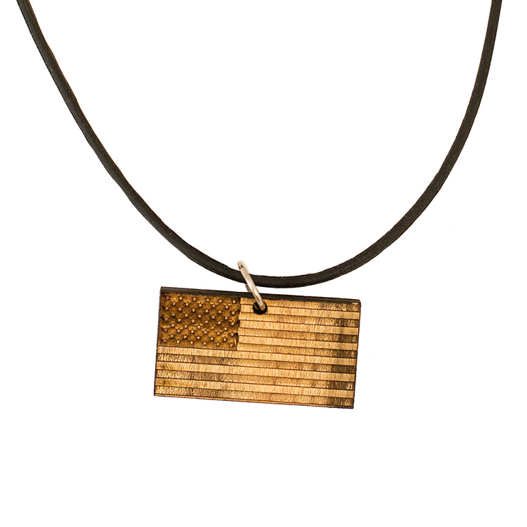 Necklace - American Flag - Raw Wood