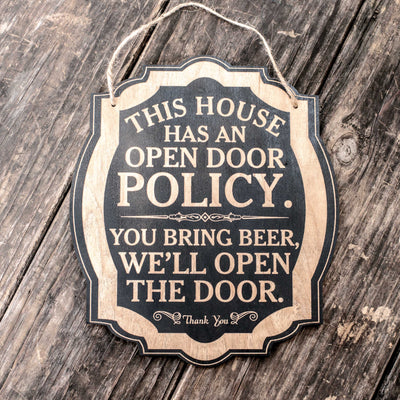 Open Door Policy - Black Door Sign 8x9.5in