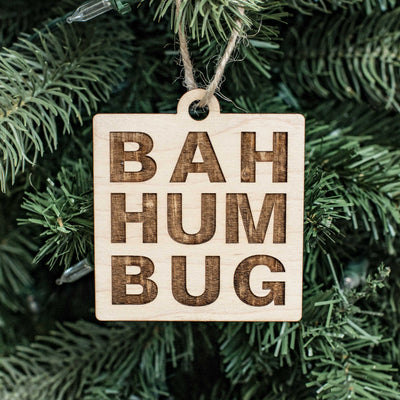 Ornament - Bah Hum Bug Squared - Raw Wood 3x3in