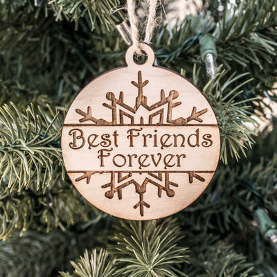 Ornament - Best Friends Forever - Raw Wood 3x3in