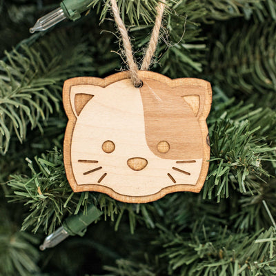 Ornament - Cute Kitten - Raw Wood 3x2in