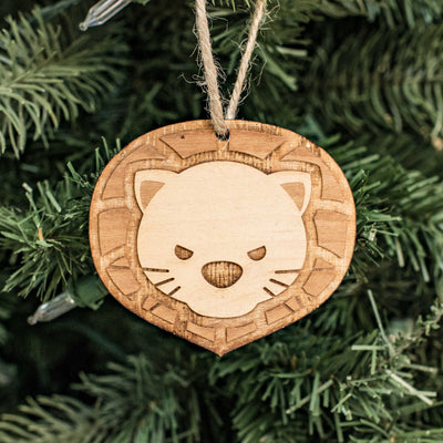 Ornament - Cute Lion - Raw Wood 3x2in