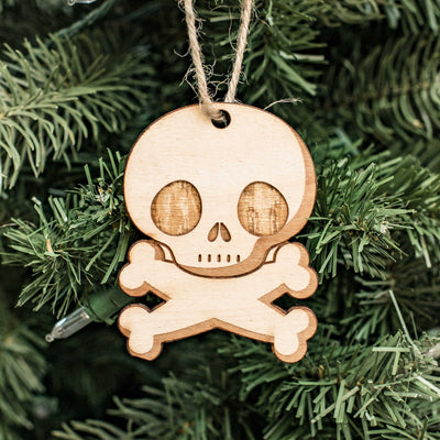 Ornament - Cute Skull and Crossbones - Raw Wood 3x2in