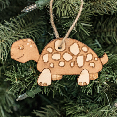 Ornament - Cute Turtle - Raw Wood 4x2in