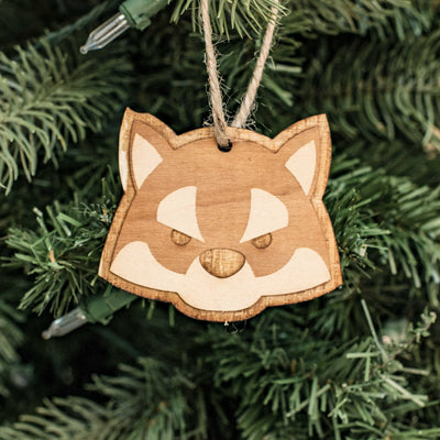 Ornament - Cute Wolf - Raw Wood 3x2in