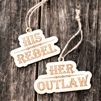Ornament - His Rebel - Her Outlaw - Set Raw Wood 2x4in