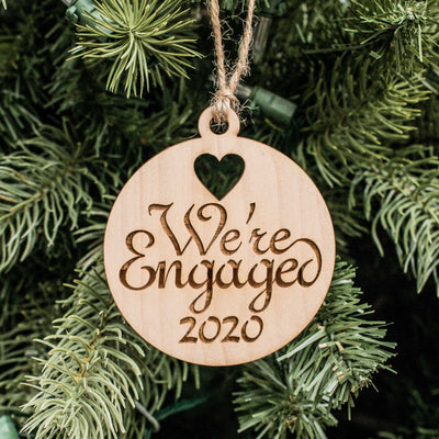 Ornament - We're Engaged 2020 - Raw Wood 3x3in