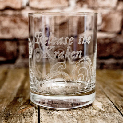 Designer Rocks Glass - Release the Kraken