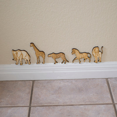 Safari Animals - 5 individual Wooden animals in all. Great for kids bedrooms!