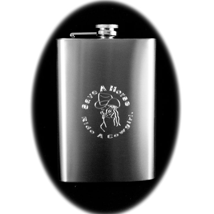 8oz Save a Horse Ride a Cowgirl Hip Flask R1