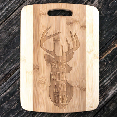 Stay Wild and Free - Deer - Cutting Board 14''x9.5''x.5'' Bamboo