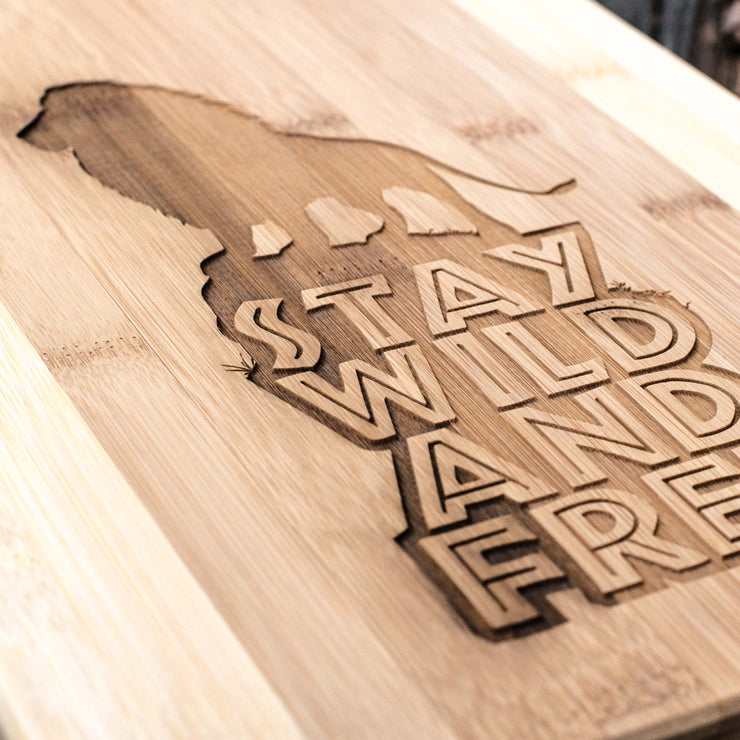 Stay Wild and Free - Lion - Cutting Board 14''x9.5''x.5'' Bamboo