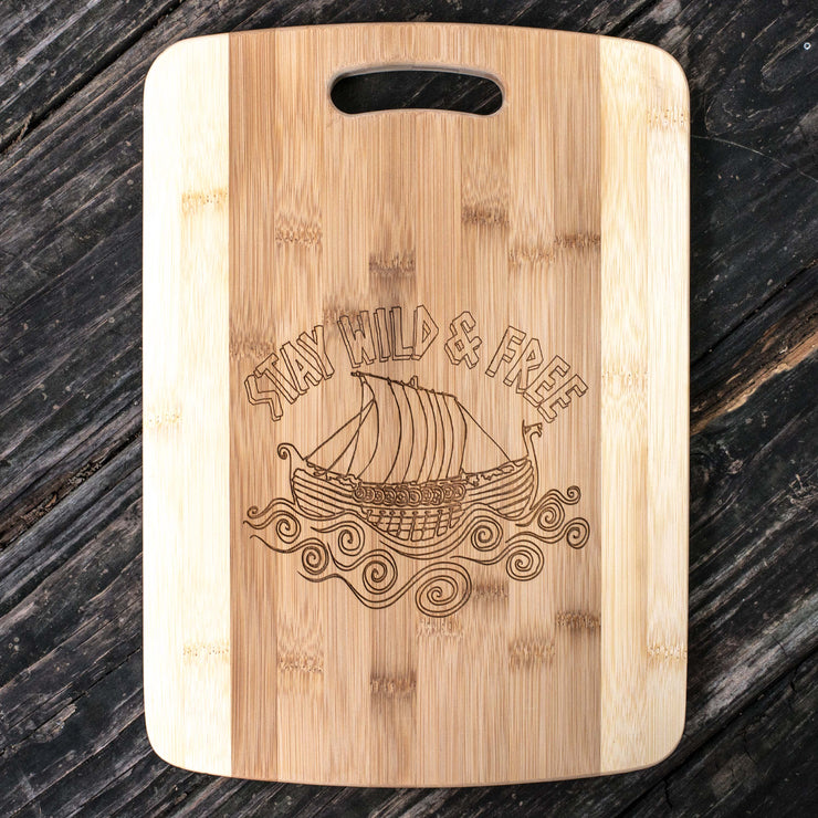 Stay Wild and Free - Viking - Cutting Board 14''x9.5''x.5'' Bamboo