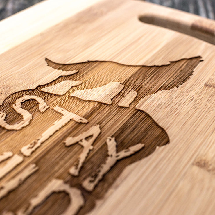 Stay Wild and Free - Wolf - Cutting Board 14''x9.5''x.5'' Bamboo