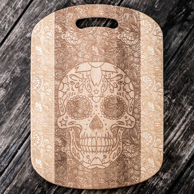 Sugar Skull Cutting Board 14''x9.5''x.5'' Bamboo