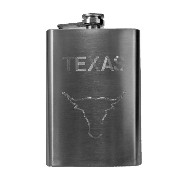 8oz Texas Bull Hip Flask R1