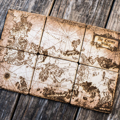 The Known World Wood Coaster Set of six 4x4in Raw Wood