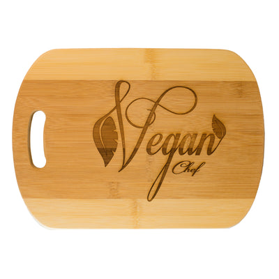 Vegan Chef Cutting Board 14''x9.5''x.5'' Bamboo