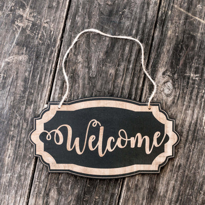 Welcome - Black Door Sign