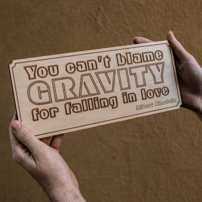 You Can't Blame Gravity Sign Wall Plaque - Raw Wood 12x5in