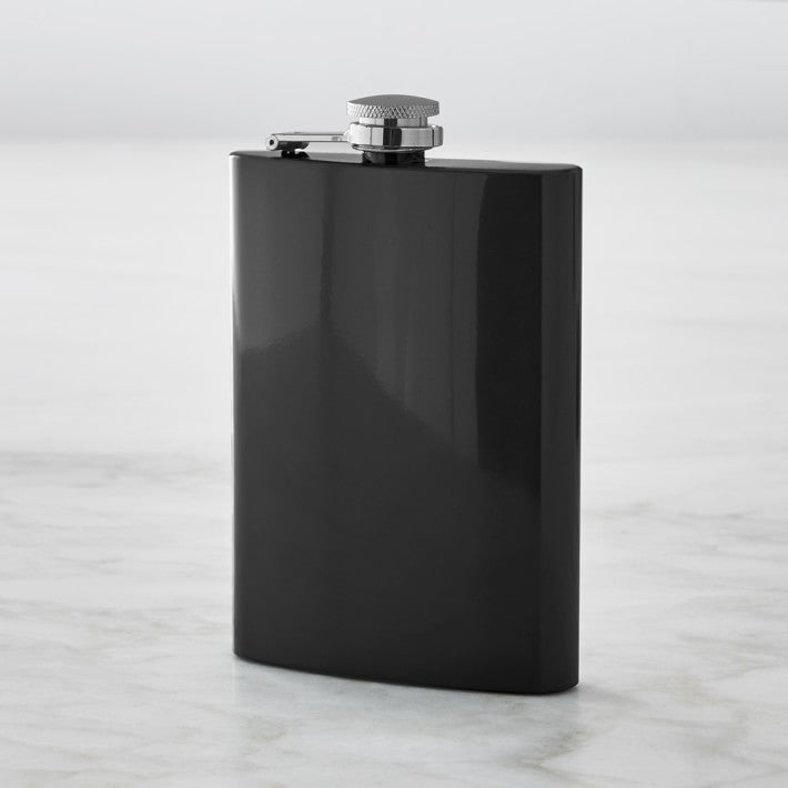 8oz Black Hip Flask (Stainless steel)