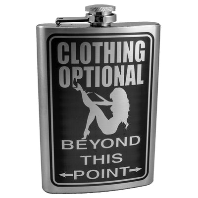 8oz Clothing Optional Beyond This Point Flask L1
