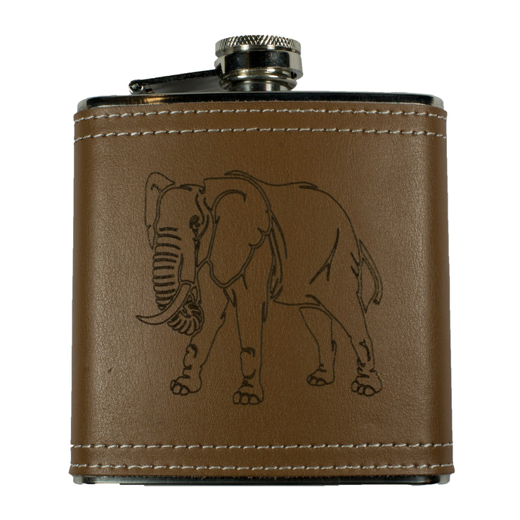 6oz Elephant Leather Flask KLB