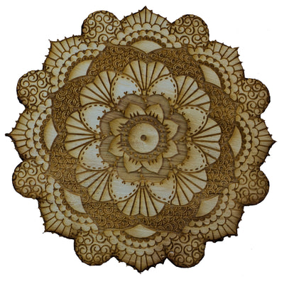 Henna Flower Raw Wood Coaster/Disc qty 1