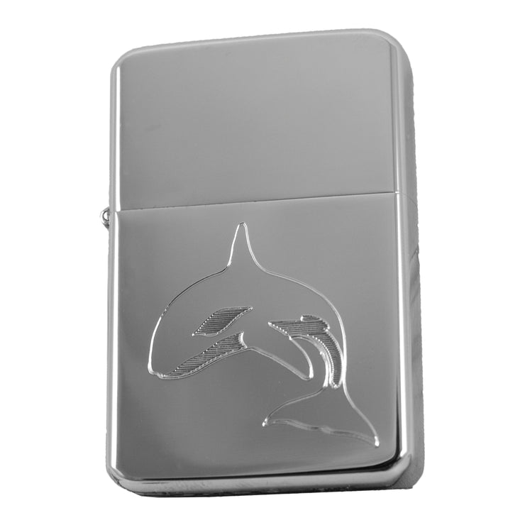 Lighter- Orca Whale Router Engraved High Polish Chrome R1