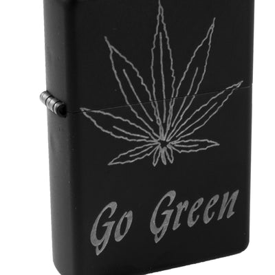 Lighter - Pot Leaf Go Green - Black L1
