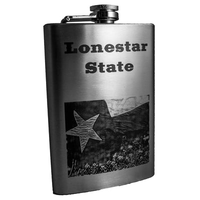 8oz Lonestar State Flask Laser Engraved