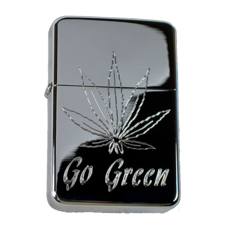 Lighter - Pot Leaf Go Green High Polish Chrome R1
