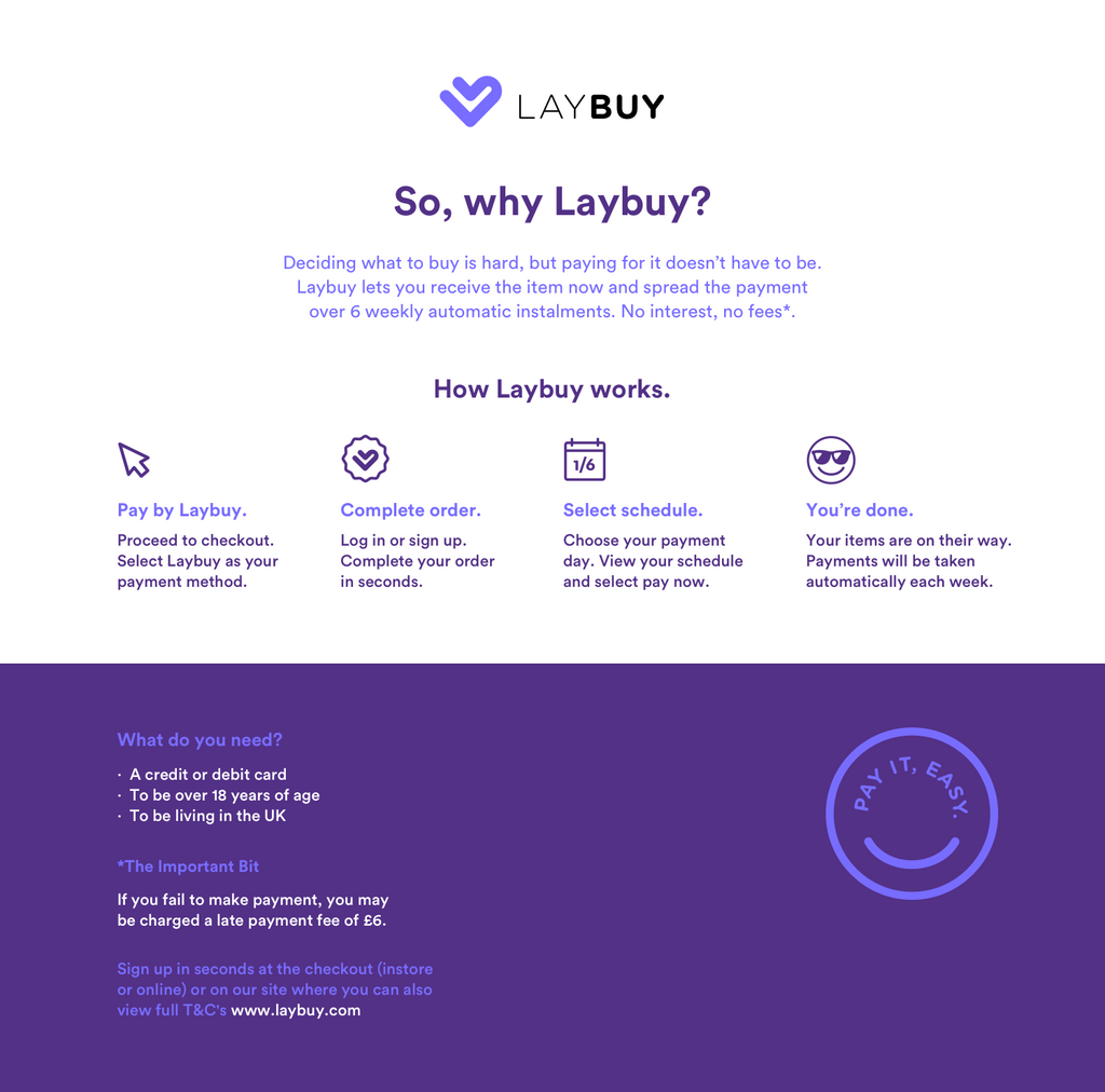 Pay by Laybuy at Henry George Menswear