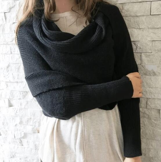 In-style Knit Scarf with Sleeves