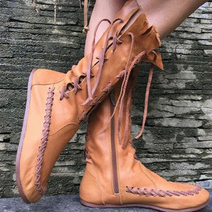 WOMEN ROUND TOE RETRO LACE-UP PU FLAT HEEL SPRING/FALL BOOTS