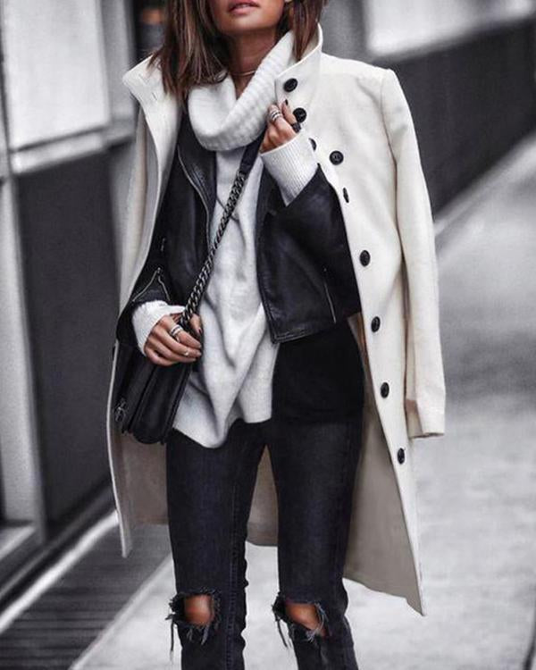 Fashion Solid Color Button Long Sleeve Woolen Jacket