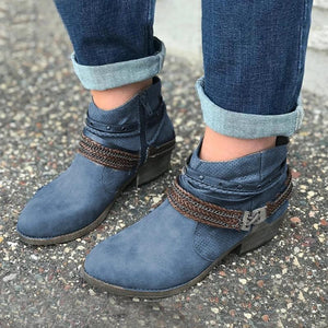 GRAY SUEDE HOLIDAY ALL SEASON FLAT HEEL BRAIDED STRAP BOOTS