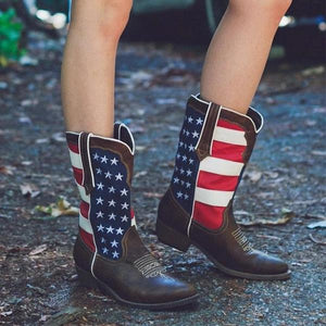Women's Color Stitching Vintage Boots