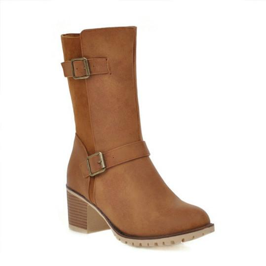 Plain Chunky Mid Heeled Round Toe Casual Outdoor Boots