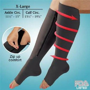 Open Toe Zipper Compression Support Socks Toeless Stockings