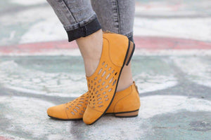 Large Size Women Summer Hollow-out Back Zipper Boots Flat Oxford Shoes