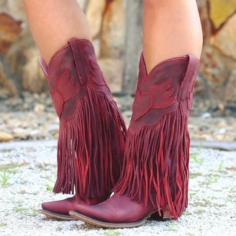 Casual Suede Low Heel All Season Fringed Boots
