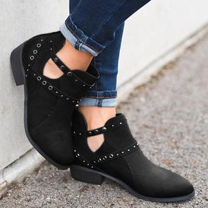 Women's High Quality Buckle Solid Boots