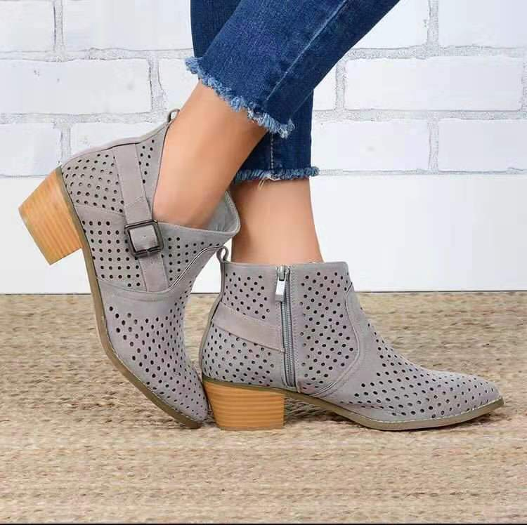 Spring/Autumn Hollow Cut Buckle Round Toe Chunky Ankle Boots