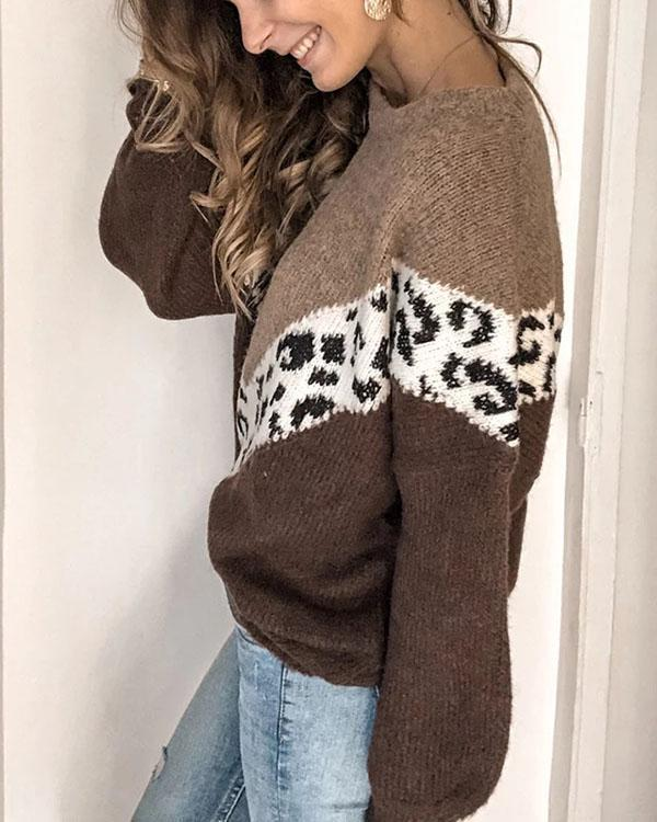 Casual Women Loose Color Matching Leopard Sweater