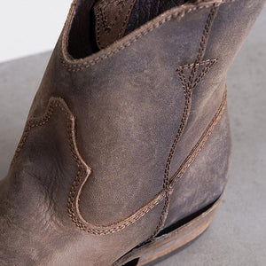 Women's Brown Distressed Leather Ankle Cowboy Boots